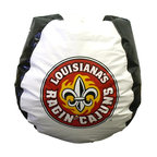 """Bean Bag Boys - Louisiana Lafayette Bean Bag - The exquisite fleur-de-lis symbol comes to life in a fiery depiction of the Louisiana at Lafayette's Ragin' Cajuns logo.  In red and yellow on a black and white chair, it's colorful, it's attractive, and it's a perfect way to show your support for these awesome athletes. * Durable vinyl constructionBean bag features logo for Louisiana Lafayette 30"""" X 30"""" 36"""". 112"""" Circumference10 lbs."""