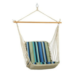 Pawleys Island Beaches Stripe Cushioned Single Hammock Swing - Additional features Zinc-plated hardware includes 1 S hook 1 hanging bracket and 1 lag bolt DuraCord fabric resists fading staining rot mold and mildew Beige-colored ropes are also all-weather fade-resistant DuraCord Polyester fiberfill batting Rolled-rim grommets with spurred washers for added stability Swing stand and hanging hardware sold separately Weight capacity: 350 lbs. Spreader bar length: 40 inches Dimensions: 2L x 2W feet Includes 1-year warranty Travel to the beach with the Pawleys Island Beaches Stripe Cushioned Single Hammock Swing. This hammock swing from Pawleys Island features vibrant colors that will transport you to a peaceful seaside getaway regardless of what the local weatherman has to say. Dual layers of all-weather solution-dyed cotton-soft acrylic DuraCord fabric resist rot mold mildew and fading. The array of colors includes coastal blue oatmeal palm green and kings blue each of which will remain bright for years to come. White-oak spreader bars are hand-dipped multiple times in honey-gold marine spar varnish. How does DuraCord differ from other fabrics? DuraCord is a hybrid fiber due to the many alterations that are made to its base ingredient. It is manufactured in a much smaller denier size meaning individual fibers are smaller making more fibers per yarn. The fibers go through a special texturizing process to give it its soft-to-the-touch cotton-like feel. Fibers are de-lustered to take away the shiny look of the yarn and give it a cotton-like look. DuraCord fabrics are abrasion resistant easy to clean stain resistant color fast fade resistant and have 1 000+ hours of UV resistance. The DuraCord fibers have the properties to make them durable for long outdoor life but without the synthetic feel. About Pawleys IslandIn 1889 the Original Pawleys Island Rope Hammock was created at Pawleys Island one of the oldest summer resorts on the South Carolina coast. When river boat pilot Captain Joshua John Ward found the grass-filled mattresses on his boat too hot in the summer he decided to make a cool and comfortable cotton rope hammock to use on his boat. After several uncomfortable designs Cap'n Josh made a hammock using wooden spreaders without knots. This original design has proven to be so comfortable that it's still used in Pawleys Island's popular hammocks over a century later. Pawleys Island continues to use the highest-quality materials when making its traditional all-cotton rope spun polyester rope and DuraCord hammocks. The custom-designed stretcher bars are cut from seasoned Carolina red oak then steamed bent drilled sanded and varnished to impart a comfortable sway to the hammock and to spread the rope evenly for optimum stability. The people of The Original Pawleys Island Rope Hammock are incredibly proud to be anything but new-fangled. Now 120 years old and counting they continue to offer the very best of their past hoping it will help you better enjoy your future.