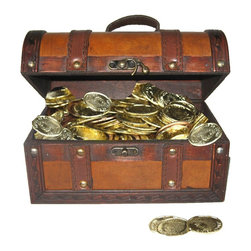 """Quickway Imports - Faux Leather Pirate Treasure Chest with 144 Coins - Size of the chest: 8.5"""" x 5.5"""" x 5.5"""""""