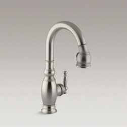 KOHLER - KOHLER Vinnata(R) single-hole or three-hole kitchen sink faucet with pull-down 1 - The traditional design and user-friendly features of this Vinnata bar sink faucet make it an attractive, hard-working addition to the kitchen or entertainment area. When paired with a secondary sink, this faucet aids in food preparation and cleanup. An el