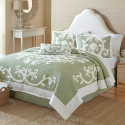 Nostalgia Home - Nostalgia Home Aliani Quilt - The Aliani quilt is printed with a Hawaiian-influenced cream medallion on green ground with outline hand-guided quilting. The quilt has a look of whimsical beauty and boasts a luxurious landscape of embroidery with fluid flourish designs.