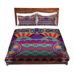 DiaNoche Designs - Duvet Cover Microfiber by Nika Martinez - Tribal Ethnic - Super lightweight and extremely soft Premium Microfiber Duvet Cover in sizes Twin, Queen, King.  This duvet is designed to wash upon arrival for maximum softness.   Each duvet starts by looming the fabric and cutting to the size ordered.  The Image is printed and your Duvet Cover is meticulously sewn together with ties in each corner and a hidden zip closure.  All in the USA!!  Poly top with a Cotton Poly underside.  Dye Sublimation printing permanently adheres the ink to the material for long life and durability. Printed top, cream colored bottom, Machine Washable, Product may vary slightly from image.