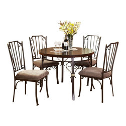 """Acme - 5-Piece Barry Collection Fabric Upholstered Chairs & Dining Table Set - 5-Piece Barry collection fabric upholstered chairs and walnut finish wood pedestal dining table set. This set includes the Dining Table and 4 - side chairs in a fabric upholstery. Table measures 42"""" Dia. Chairs measure 40"""" H to the back. Some assembly required."""