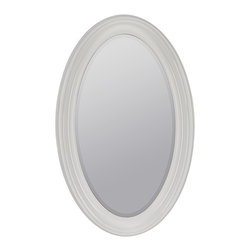 """Cooper Classics - Country - Cottage Lyndale 44 1/2"""" High Oval Wall Mirror - Bring subtle reflection to an empty wall or vanity area with the classic Lyndale oval wall mirror. The design features a glossy white finish and clean transitional appeal. A lovely accent mirror that will complement any decor! Oval wall mirror. Glossy white finish. Beveled mirror glass. 44 1/2"""" high. 28"""" wide. Mirror glass only is 37 1/4"""" high 20 1/2"""" wide.  Oval wall mirror.  Glossy white finish.  Beveled mirror glass.  44 1/2"""" high.  28"""" wide.  Mirror glass only is 37 1/4"""" high 20 1/2"""" wide."""