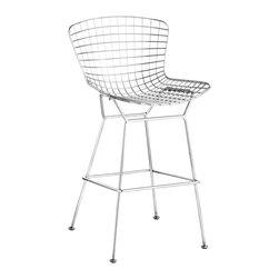 Zuo Modern - Zuo Modern Wire Modern Bar Chair, Pack of 2 - An icon of Mid-Century modern, the Wire comes in three finishes, chrome, matte black, or matte white, as well as in two heights: dining and bar. It is made of a welded solid steel frame with six cushion color options: black, white, red, orange, green, grey, and espresso. Sold separately.