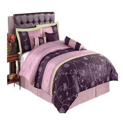 Bed Linens - Grand Park 11-Piece Bed in a Bag, Purple, King-11pc-Set - The colors of this set are combination of powder blue and coffee with white and brown floral stitching. The color of the bed skirt is not as shown on the picture, the actual color is Aqua Blue.