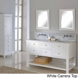 Direct Vanity Sink - Pearl White 60-inch Mission Spa Premium Double Vanity Sink Cabinet - The pearl white finish wood of this mission style bathroom vanity cabinet features two functional center drawers on soft closing glides flanked with two doors with faux drawer front on the left and right,also on soft closing mechanism.