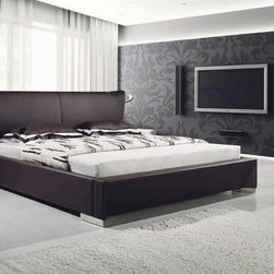 Luka Modern Bed Frame - Brown - The Luka Brown Modern Bed Frame combines thick leather, with attached lighting, and contemproary styling. Its sure to enhance your bedroom decor!