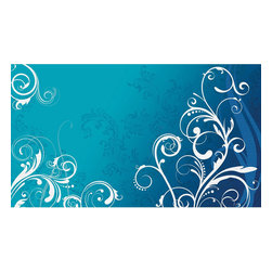 York Wallcoverings - Blue White Scroll Swirls Giant Wallpaper Accent Mural - Features: