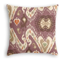 Purple, Taupe & Orange Ikat Custom Throw Pillow - The every-style accent pillow: this Simple Throw Pillow works in any space.  Perfectly cut to be extra fluffy, you'll not only love admiring it from afar but snuggling up to it too! We love it in this colorful eclectic ikat cotton print in lilac with touches of mint, orange, and beige.