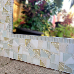 Mosaic Mirrors from Green Street Mosaics - This all white with pops of pale yellow mosaic wall mirror is the definition of subtle beauty! I simply love this classy, neutral, and stunning color combination.