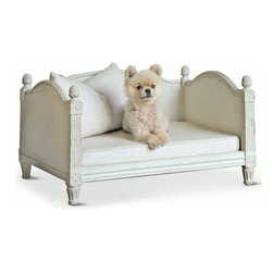 Eloquence - Theodore French Country Louis XV Style Ivory Grey Fog Linen Dog Bed - Treat your precious loyal friend to a petite, posh place to sit and sleep. A light grey removable cushion will comfort your pet in style. The French Country architecture is enhanced by hand-carved pineapple finials, welcoming your constant companion.