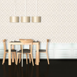 Swag Paper - Swag Paper Woven Trellis Self-Adhesive Wallpaper - WOVTRELLMPL4 - Shop for Wallpaper from Hayneedle.com! The Swag Paper Woven Trellis Self-Adhesive Wallpaper is a DIY paper with a chic designer look in your choice of contemporary color. Its easy no-mess peel-and-stick design features quality handmade fabric in 25W inch panels with an extra inch of width for seamless side-by-side positioning. Crinkle-free removable and repositionable the panels can be applied to clean primed or painted walls flat surfaces and even some furniture.The Tools You'll Need:Tape measureSpongeStraight edgeLevel (optional)Utility knife or razor bladePlastic smoother (a credit card also works)Step stool or ladderEasy Installation Instructions:Measure the width of your wall in feetDivided the width by 2 to find the number of panels you'll needPeel backing by about 8 to 12 inches and apply to wallSmooth overKeep pulling the backing away in 8- to 12-inch incrementsTrim off the excess materialOverlap panels by 1 inch to match patternsCreate a butt seam by cutting the top overlapping layer of wallpaper removing it and smoothing overSwag Paper - Empowering the Do-It-Yourselfer:Forget the paste the crinkles and cutting rolls of wallpaper to make the patterns match. Dave and Daniela Fields a brother-and-sister team developed Swag Paper for Do-It-Yourselfers with high aspirations and little time. Their adhesive-backed panels apply in a fraction of the time it takes to apply traditional wallpaper and all you really need in the way of tools is a tape measure sponge straight edge utility knife and credit card. Swag Paper is removable non-destructive and residue free making it the go-to solution for renters with big decorating plans.About Swag PaperFounded in Chicago by a brother-and-sister team Swag Paper is the first company to create a truly DIY wall decorating solution that puts a luxury designer look within reach of any budget. Their pre-cut peel and stick panels feature handcrafted poly-