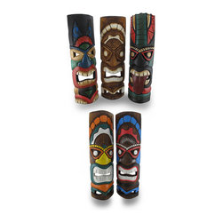 Zeckos - Set of 5 Assorted Tiki Masks Hand Carved Wood Colorful Tikis 19 in. - This colorful assorted set of 5 fun hanging tiki masks is an essential addition to any tiki bar, outdoor oasis or island themed reception or party They are hand crafted from wood, and each measure approximately 19 inches tall (48 cm) and 5.5 inches wide (14 cm) with attached hangers on the back. Each tiki is hand painted with bold, cheerful colors, and hold a variety of adult beverages. This set would make an amazing housewarming gift, and this group of partying tikis is sure to liven up your party, porch, or patio, and is sure to keep the good times rolling NOTE: Because these masks are handcrafted, they may differ slightly than the ones pictured.