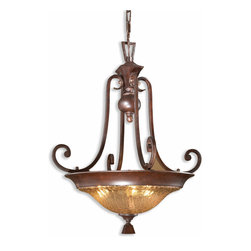 Uttermost - Elba 3-Light Crackle Glass Pendant - Hanging this pendant is like hanging earrings in your room. The graceful curved arms are banded with square accent shape and the iridescent, crackled glass bowl holds three 60-watt bulbs so you're sure to have enough light on your subject.