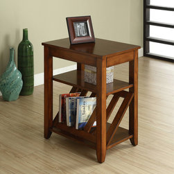 Furniture of America - Furniture of America Antique Oak 1-drawer Magazine-rack End Table - Reduce clutter in your living room with this convenient magazine rack end table. It has a drawer and a magazine rack to hold all your magazines and an extra shelf to store other items. With its antique oak finish,it also brings style to your room.
