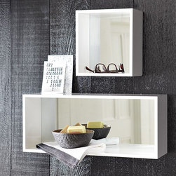 "Box Mirror Shelves - West Elm - For teeny-tiny entryways, stick to the essentials: a mirror and a place to stash keys. These mirror shelves have both covered, and since they are mounted you don't lose any floor space. Made of fiberboard and glass. Comes in two sizes: small (9.7""h x 6""d x 10.7""w) and large (9.7""h x 7""d x 23.7""w). Price ranges from $34 to $49."