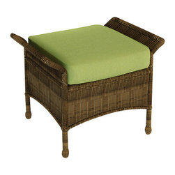 Forever Patio - Rockport Traditional Wicker Ottoman, Canvas Parrot Cushion - The Rockport Ottoman (SKU FP-ROC-O-CN-CP) is the perfect addition to any of the Rockport chairs or sofas. Its UV-protected Chestnut wicker and round-weave design creates a warm, traditional look that is made to last. This ottoman includes a fade- and mildew-resistant Sunbrella cushion; the industry's best outdoor fabric.