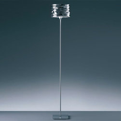 Artemide - Artemide   Aqua Cil Floor Lamp - Design by Ross Lovegrove, 2008.The Aqua Cil Floor Lamp provides direct and indirect lighting. Features a die-cast aluminum base with a steel stem in a satin chrome finish and a mirror treated aluminum diffuser in polished chrome. Touch dimmer on body.