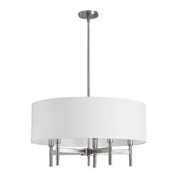 Dainolite - 5 Light Chandelier with White Drum Shade Satin Chrome Finish - -Main Body Material: Fabric