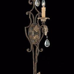 Joshua Marshal - One Light Moroccan Bronze Crystal - Clear Wall Light - One Light Moroccan Bronze Crystal - Clear Wall Light