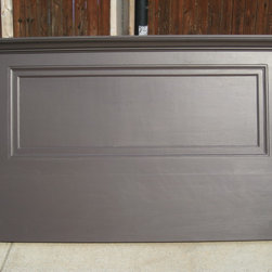 """Vintage Headboards - Painted a Satin Espresso Brown - this Vintage Headboard was made from a 90+ year old door!  An extension was added so that the headboard can rest on the floor or with the optional wall bracket can hang on the wall.  This old door headboard will fit either a king size or queen size bed.  Topped with a 7"""" shelf, crown molding, side skirts and decorative trim.  Call Vintage Headboards at 972-668-2603 to place an order."""