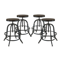 Modway - Collect 4 Piece Dining Set EEI-1607, Black - Place yourself on the pedestal of experience. Collect is an envisioned industrial modern counter stool that secures bygone moments into a calming version of the present. Constructed of solid pine wood and a cast iron stand with footring, gather together your experiences and enthusiasm in this piece that spans the ages.