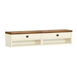 "Whitney Desk Hutch, Almond White with Honey stain - Our Whitney hutch makes the most of your workspace. Designed to fit with our Whitney Rectangular Desk, it can be separated into two small hutches, or kept together for a more consolidated approach. 18"" wide x 9.5"" deep x 8"" high Comes with 2 hutches in the set, can be used together or separately. Finish is layered by hand for exceptional depth of color. View our {{link path='pages/popups/fb-home-office.html' class='popup' width='480' height='300'}}Furniture Brochure{{/link}}."