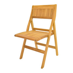 Anderson Teak - Windsor Folding Chair - Windsor folding chair is a very sturdy, very versatile side chair, which is the perfect complement to our table. This chair is claimed to be the most convertibles chair of our product. Made from the finest solid teak, which is strong and durable; yet light enough to allow for easy storage. This is a beautiful and functional piece of furniture for your patio or terrace. The folding chair in beautiful unfinished natural teak. It comes 2 chairs per order. Cushion is optional and is being made by order.