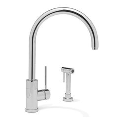Blanco Purus II w/ Side Spray Kitchen Faucet - A dazzling display of form and function makes an appearance in this stunning style. Crafted with solid brass body construction, this faucet features a modern arc design, minimalist side lever and convenient side spray. | Features: Our ultra modern design also comes without the side spray option. AB1953 Lead Free Compliant. Lever handle. Side spray 1-3/8'' hole. Solid brass body & all metal side spray. Ceramic disk cartridge. Extra long supply lines. 2.2 GPM flow rate. Installation in a 1-3/8'' hole. Limited Lifetime Warranty | Available at ShopStudio41.com