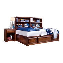 "American Drew - American Drew Expressions 2 Piece Bookcase Bedroom Set in Rootbeer - Expressions is a contemporary style with simple design influences that accentuate any setting and a perfect scale that fits most bedrooms. The finish is a rich, ""root beer"" color finish with matched Cherry veneers on case tops and beds; adding to the design of the high end contemporary style. Heavy drawer frames that not only add weight, but act as handles to open drawers and help create a clean look to Expressions. Multiple unique sleep options and storage possibilities add style and function."