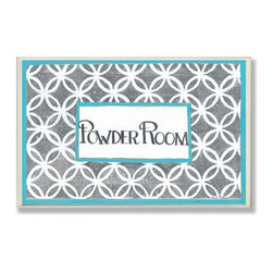 Stupell Industries - Grey and White Lattice Powder Room Wall Plaque - Made in USA. Ready for Hanging. Hand Finished and Original Artwork. No Assembly Required. 15 in L x .5 in W x 10 in H (2 lbs.)Made in USA! Point your guests in the right direction with elegant bathroom plaques from The Stupell Home decor CollectionEach plaque comes with a sawtooth hanger for easy installation on bathroom doors or walls.