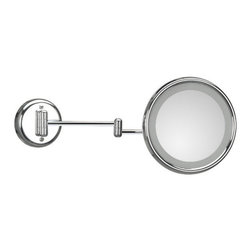 WS Bath Collections - Lucciolo Incandescent Magnifying Makeup Mirror 3x - Lucciolo 21-2 x3 by 9.5 Dia. x 18.1 Extension Magnifying Mirror with Incandescent Lamp, External Power Supply with Plug, in Chromed lated Brass and Anodized Varnished, External Power Supply with Plug Incandescent Lamp Wall-Mounted, Made of Chromed Plated Brass Free of Distortions 3x Magnification, Made in Italy