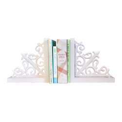 New Arrivals Inc. - Vintage Pink Scroll Wooden Bookends - Vintage Pink Scroll Wooden Bookends