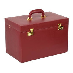 Wolf Designs - Red Heirloom Trunk - Our Heirloom Trunk provide elegant and functional accessories storage for a multitude of jewelry collections. Part of the Heritage Collection, this jewel case assortment ranges from the large, grand cases with multiple storage drawers and removable travel cases to the compact and travel-ready sizes perfect for your weekend getaway. The jewel case is made up of red smooth faux leather exterior with tan plush interiors and gold plated accents and closures.