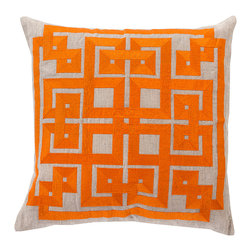 """Burnt Orange Decorative Pillow - 18"""" x 18"""" - Cotton embroidery on oatmeal-colored linen describes the satin gleam and substantial turns of a continuous geometric pattern, the adornment of the Burnt Orange Decorative Pillow.  Adding an intense pop of heat to your palette along with a twisting grid of bold shapes, this accent cushion is a superb choice for contrasting with cooler color schemes or complementing on-trend fruit shades."""