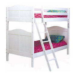 Bolton Furniture - Cottage Twin over Twin Bunk Bed in White Finish - Includes headboard, footboard, birch side rail and ladder/safety rail set. Optional under bed storage priced separately. Features shaker style case pieces. Dovetailed drawers and self-closing under mount glides. Made of solid maple and maple veneers. ASTM certified. Assembly required. 1-Year warranty. 42 in. W x 79 in. D x 68 in. H. Optional under bed storages:. Storage drawers: 37 in. W x 42 in. D x 9 in. H. Trundle: 41 in. W x 74 in. D x 10 in. H. Bunk Bed Warning. Please read before purchase.. NOTE: ivgStores DOES NOT offer assembly on loft beds or bunk beds.