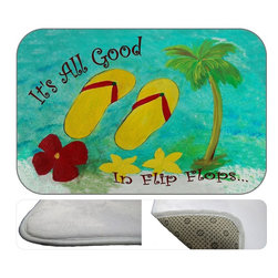 """USA - Flip Flops It's All Good Bath Mat, 20"""" X 15"""" - Bath mats from my original art and designs. Super soft plush fabric with a non skid backing. Eco friendly water base dyes that will not fade or alter the texture of the fabric. Washable 100 % polyester and mold resistant. Great for the bath room or anywhere in the home. At 1/2 inch thick our mats are softer and more plush than the typical comfort mats. Your toes will love you."""