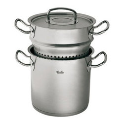"""Fissler - Fissler Original Pro Collection Multi-Star Stock Pot & Steamer Set 6.3 qt. - Set comprised of one 6.3 qt. stock pot and one 3.6 qt. steamer insert. Extremely robust. All the pots are made of sturdy 18/10 stainless steel. Extra thick base with an aluminum core ensures optinum heat distribution. The large, easy-to-grasp stainless steel handles remain cool when you are cooking. There is therefore no need to bother with potholders. Wide rim ensures safe ouring without drippingExtra heavy and tightly closing lid to ensure heat and moisture are retained in the pot. Measuring made easy: the practical measuring scale inside the pot helps you to measure liquids exactly. Suitable for all types of stove, heats the pot quickly and evenly, and saves energy. Dimensions: 7.9"""" (20 cm) diameter. Dishwasher safe.. Limited Lifetime warranty.. Made in Germany."""