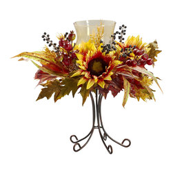 "Nearly Natural - Sunflower Candelabrum - Warm your holiday heart with this stunning Sunflower Candelabrum. Stranding proudly at 16"" tall, this candelabrum will dance with delight, whether there's a flickering flame present or not. And the metal stand? Elegant as can be. Looks great on a mantle, a bookcase, or as a centerpiece. Also makes a great gift."