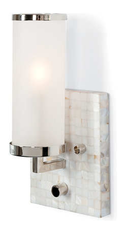 Kathy Kuo Home - Ilsa Coastal Beach Mother of Pearl Mosaic Ivory Wall Sconce - A mother of pearl ivory mosaic forms a shimmering square wall-mounted sconce. Shades of alabaster, white, light grey and eggshell complement each other and the polished silver trim that holds the frosted glass, cylindrical shade.