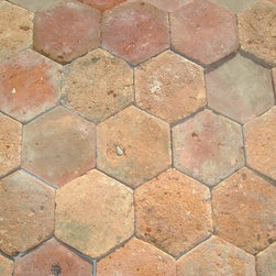 Antique Reclaimed French Parrefeuille terracotta - Parrefeuille tiles were used throughout southern France and are unusual in their rectangular, rather than square, shape. Paris Ceramics selects tiles from a particular area of Languedoc.