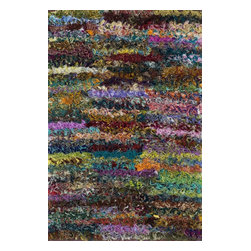 """Loloi Rugs - Loloi Rugs Eliza Shag Collection - Multi, 2'-3"""" x 3'-9"""" - Get ready for a small rug that makes a big impact. Available in 2'3"""" x 3'9"""" and 3' x 5' scatter sizes, Eliza Shag is perfect for refreshing your kitchen, bathroom, or bedside with a pop of color. In fact, Eliza Shag doesn't just come in color, it's practically made of it. That's because most of the repurposed polyester fabric is hand dipped into rich dye lots and then hand woven together in India. The result is gorgeous colors - serene ocean blue, warm paprika, and elegant ivory - and a fun ruffled texture that's going to uplift the entire mood of your room."""
