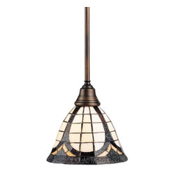 Design Classics Lighting - Tiffany Mini-Pendant Light - 5979-20 - Look more closely at this cute Tiffany mini-pendant. As the amber, cream and soft-orange colors mingle together two mosaic flower patterns emerge. The aged bronze stem has a warm, reddish-brown hue that brings out the opal glass. This classic Tiffany-style mini-pendant turns heads when placed over a kitchen island, in a dining nook or even grouped over a bar or gaming table. The pendant comes with one 6-inch and three 12-inch stem segments, along with an integrated sloped ceiling adapter. Takes (1) 100-watt incandescent A19 bulb(s). Bulb(s) sold separately. Dry location rated.