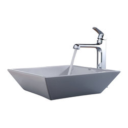 Kraus - Kraus C-KCV-125-15200CH White Square Ceramic Sink and Decorum Faucet - Add a touch of elegance to your bathroom with a ceramic sink combo from Kraus