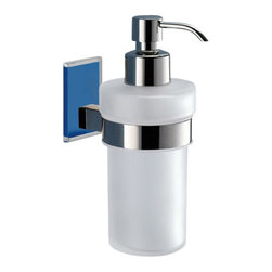Gedy - Wall Mounted Frosted Glass Soap Dispenser With Blue Mounting - Modern, contemporary style wall mounted hand soap dispenser.