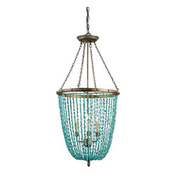 "Currey & Company - Currey & Company Lawrence Chandelier - A striking pendant with its turquoise marble beads and ""Cupertino"" finish. It's a classic form with unexpected materials which makes it just right for traditional as well as contemporary settings. Takes three 60w candelabra bulbs; comes with a 3' chain. This manufacturer is characterized by its attention to detail and its use of natural materials."