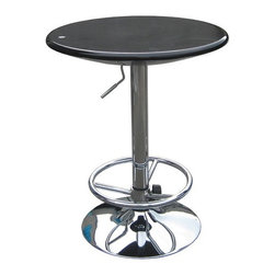Boraam - Luna Adjustable Pub Table in Black - Features: -Pub table. -Luna collection. -Black finish. -Airlift adjustable height table. -360 Degree swivel. -Modern and unique design. -Assembly required. -Manufacturer provides 90 days limited warranty.