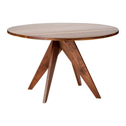 Stylo Furniture and Design - Round Walnut Dining Table - This dining table is the perfect mix of traditional and modern, thanks to the geometric base. It could bring a dose of the unexpected to a breakfast nook without sticking out like a sore thumb. Who wouldn't love it?