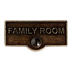 Renovators Supply - Switch Plate Tags Ant Brass FAMILY ROOM Switch Tag 1 11/16'' W - Forget which switch is for what? Try our ID switchplate tags and identify your switches. Our switchplate ID tags are made from SOLID CAST BRASS and come with a TARNISH-RESISTANT ANTIQUE BRASS finish. EASY installation and fits standard switchplates. Coordinating screw included. Measures 13/16 in. H x 1 11/16 in. W.